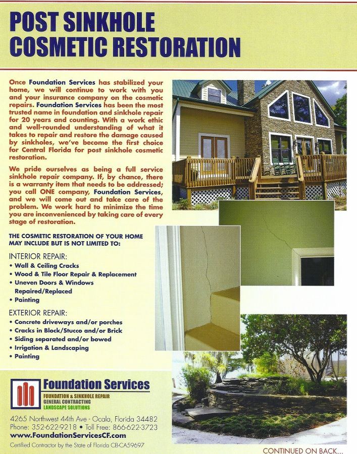 Post Sinkhole Cosmetic Restoration Once We Stabilize Your Home