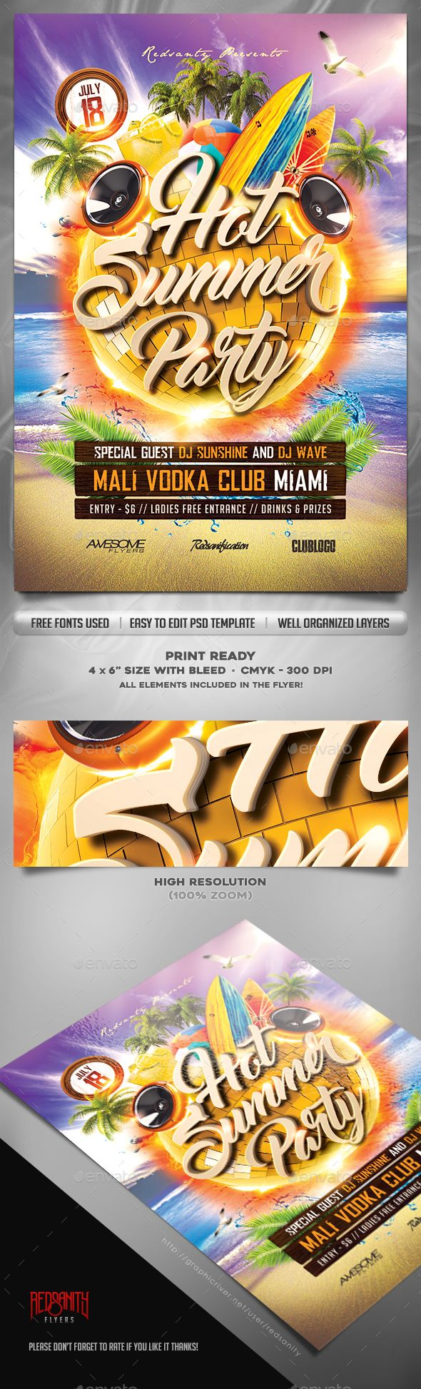 Hot Summer Party Flyer Template | Party events, Summer parties and ...