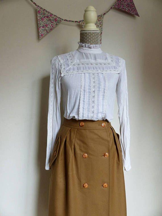 077f3e8ffce4 Vintage 1960s high waist long skirt. Maxi skirt with pockets.   Etsy ...