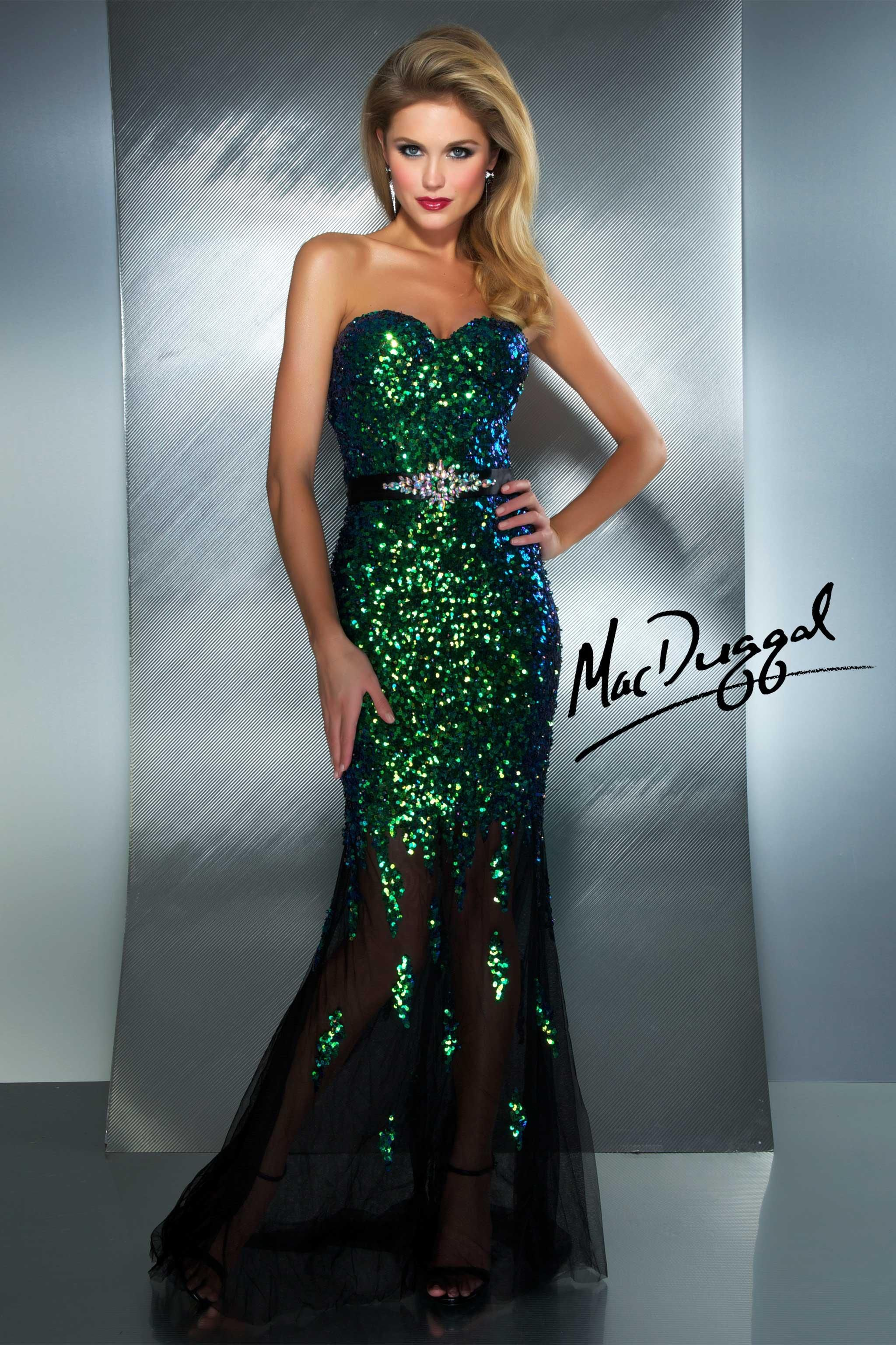 e9f3dfde91a Strapless Peacock Sequin Gown