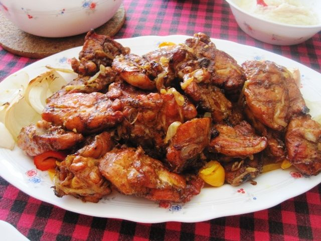 BBQ Chicken with fried onions and baked onions!