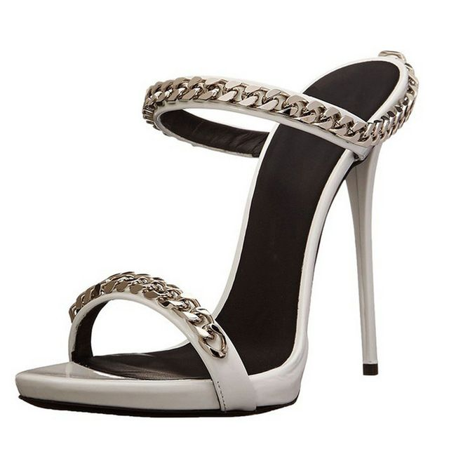 Womens Pumps Stilettos Heels Fashion Women Shoes Roman Style Metal Chains Open…