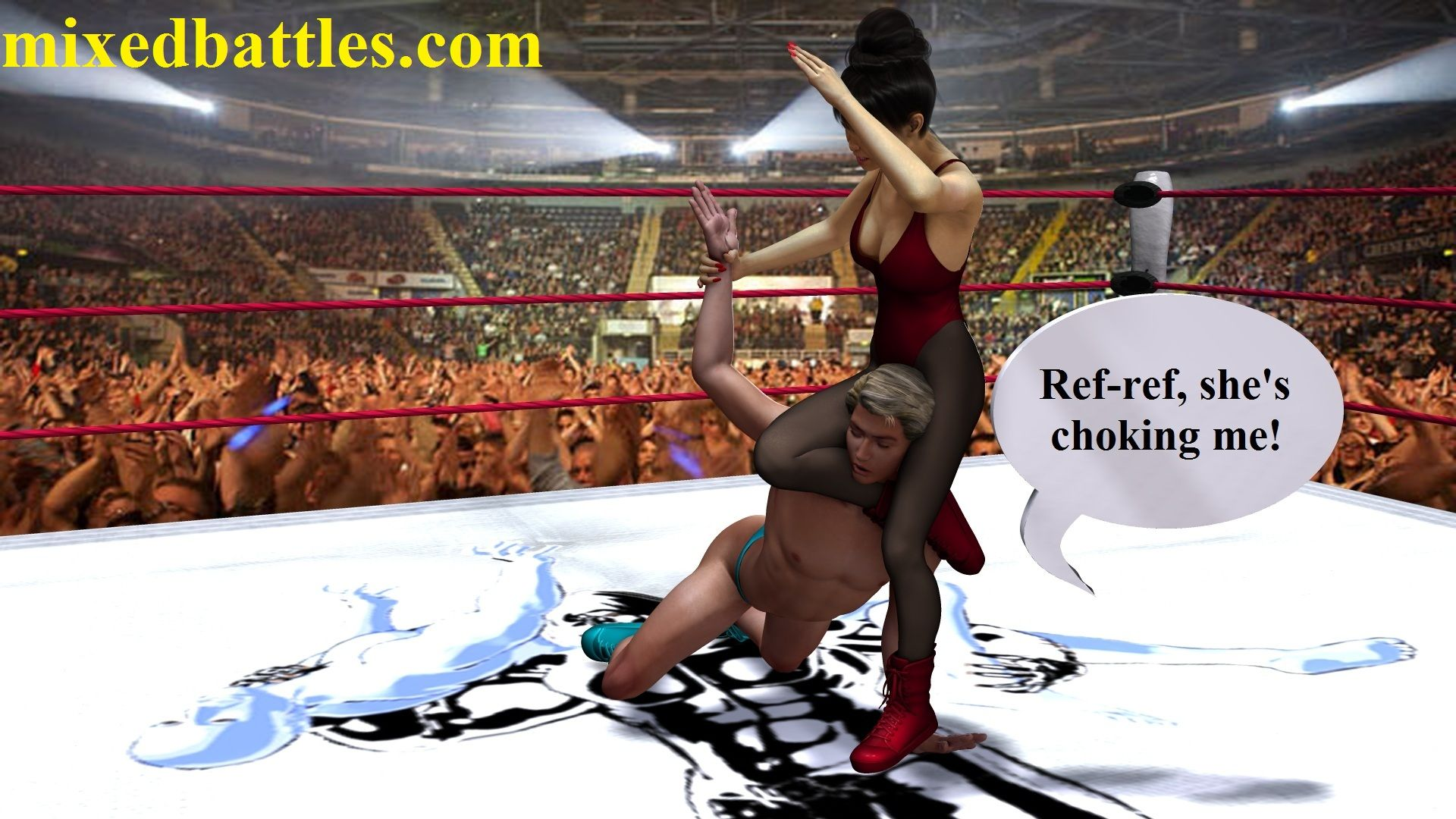 mixed wrestling headscissorsasian woman in sexy red one piece