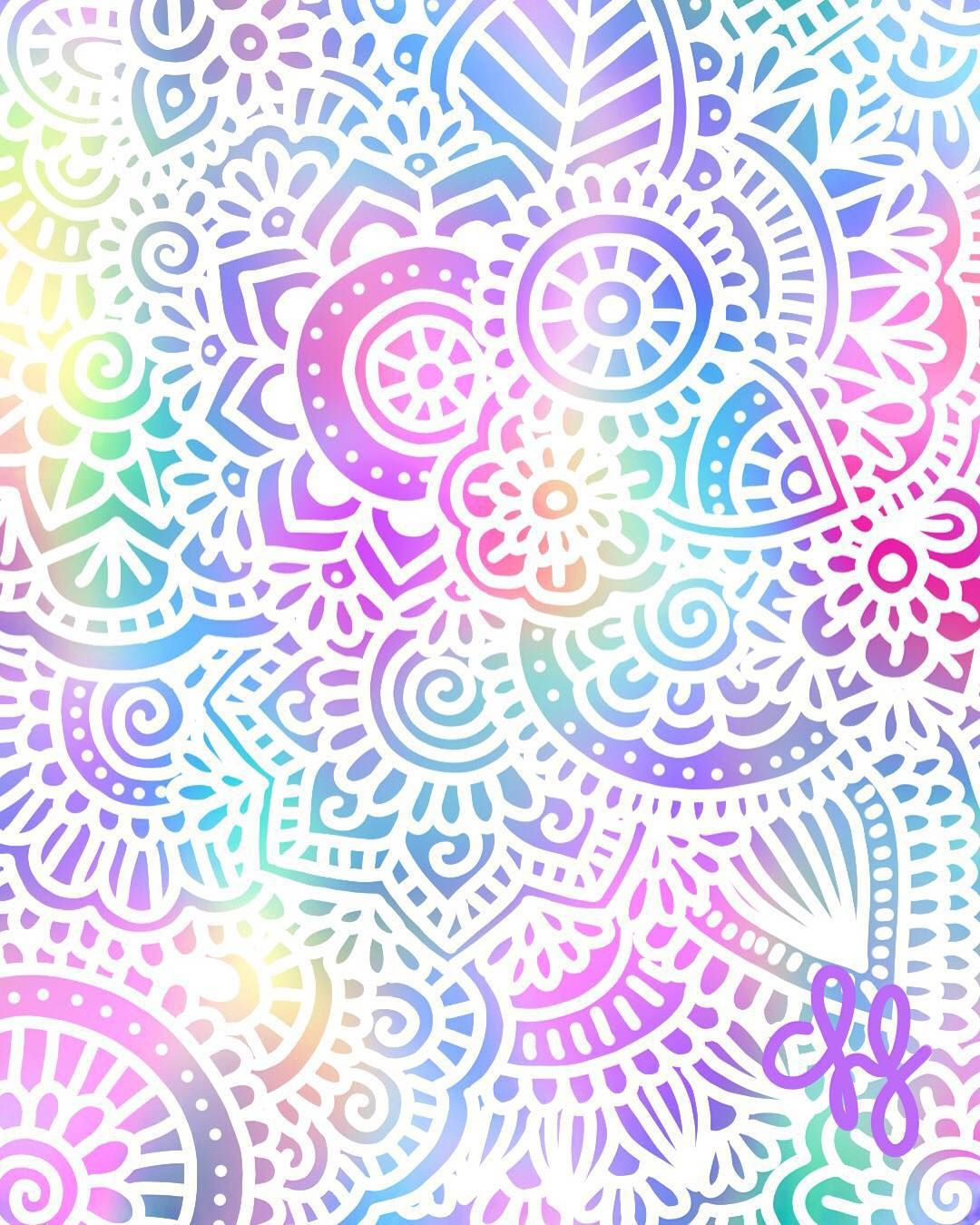Colorful Iphone Wallpaper: Zentangle Art Con Colores Pastel
