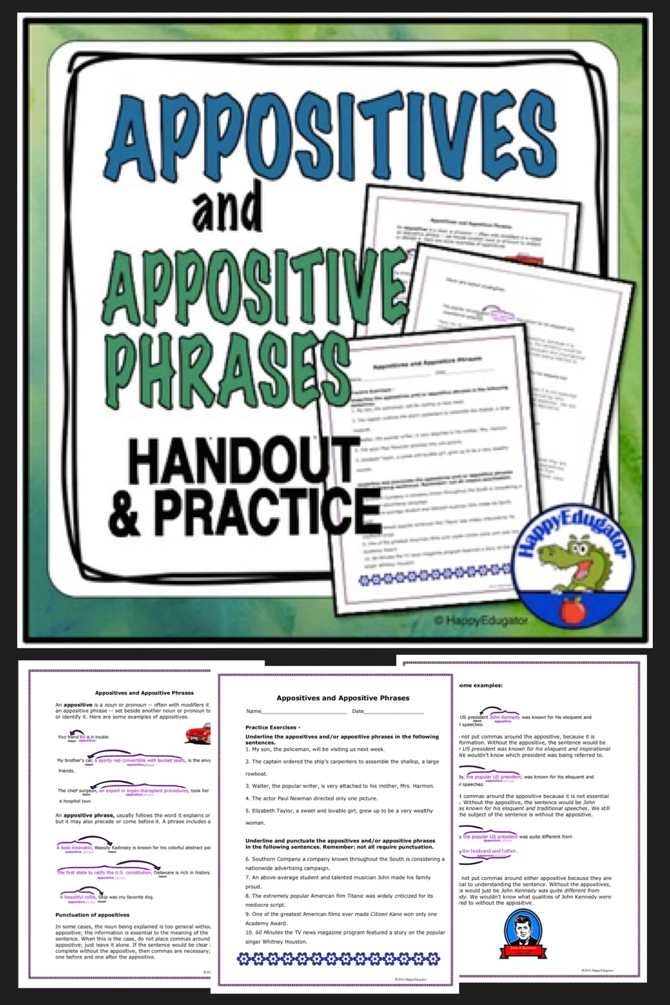 hight resolution of Appositives and Appositive Phrases   Elementary resources