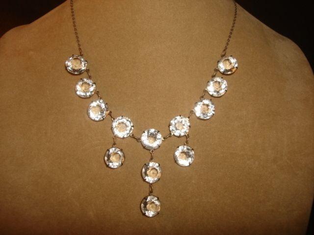 Art Deco OPEN BACK Bezel Set Crystal Drop Necklace