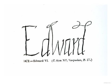 Reproduction of the signature of edward vi history for Tudor signatures