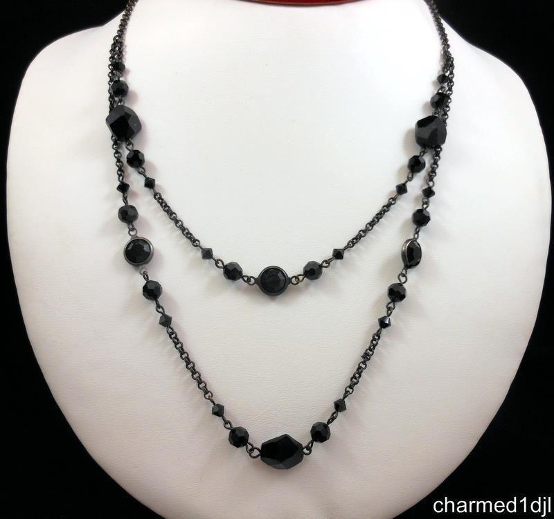 "LIZ PAIACIOS S.F. Black Swarovski Crystal Necklace DBL Strand 18""L Adj Retired #LizPalacios #Chain SOLD"