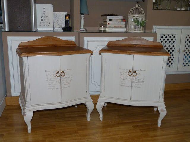 Pareja de mesillas vintage restauradas y decoradas con for Restauracion muebles vintage