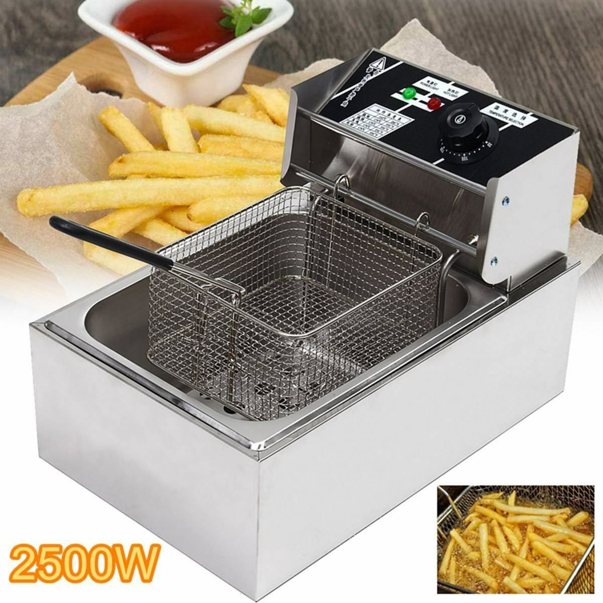 2500W 6.3QT/6L Stainless Steel Electric Deep Fryer Home