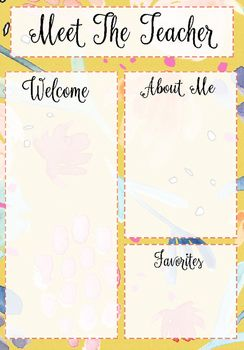 Meet The Teacher Template Yellow Floral Pattern  Teacher And Students