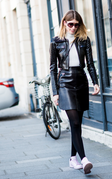 that is some kick ass leather. #VeronikaHeilbrunner in Paris.