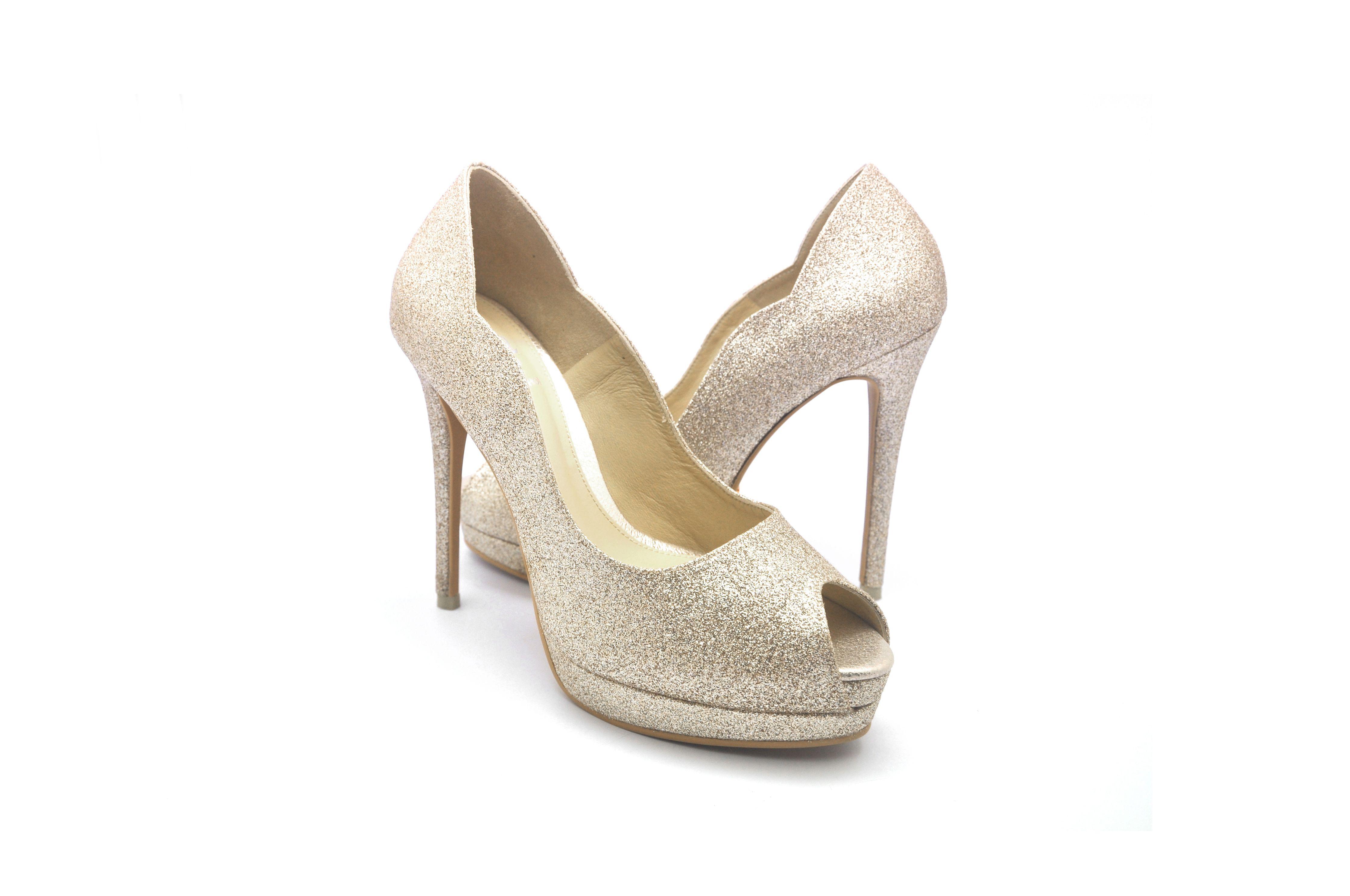Celest Thoi Bespoke Bridal Heels Classic Peek Toes With Glitters