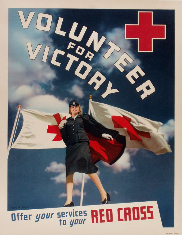 World War 2 Poster Volunteer For Victory Red Cross Wwii Posters Red Cross Red Cross Volunteer