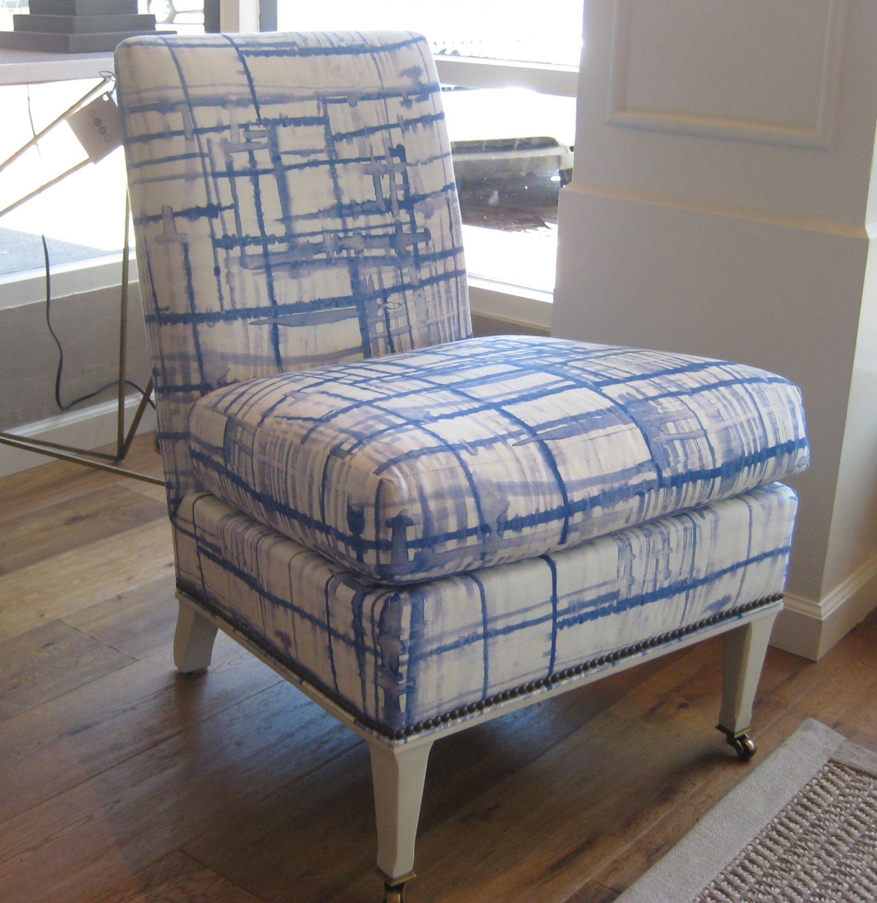 Madeleine Slipper Chair in fabulous cream/blue Hable