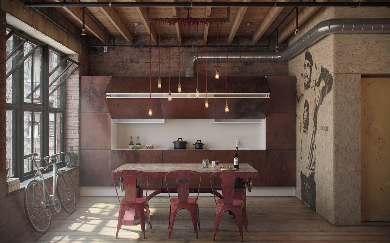 industrial interior design: den-loft (the perfect man-cave
