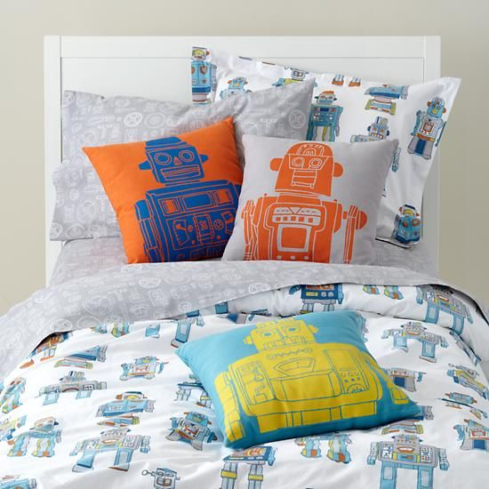 kids bedding kids cotton robot bedding in boy bedding the land of nod - Toddler Boy Sheets