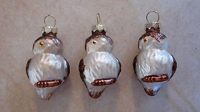 "(3) SMALL 2 1/2"" GLASS BROWN & WHITE GLITTERED OWL CHRISTMAS TREE ORNAMENTS. Lanai tree."