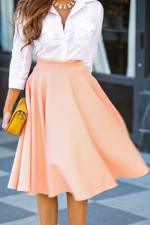 Ever So Chic Coral Swing Skirt