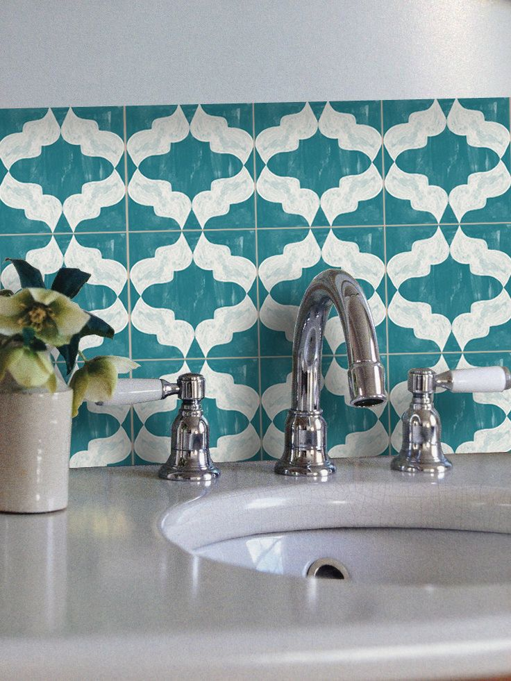 CLEARANCE Moroccan Arabesque Wallpaper in Tosca Removable