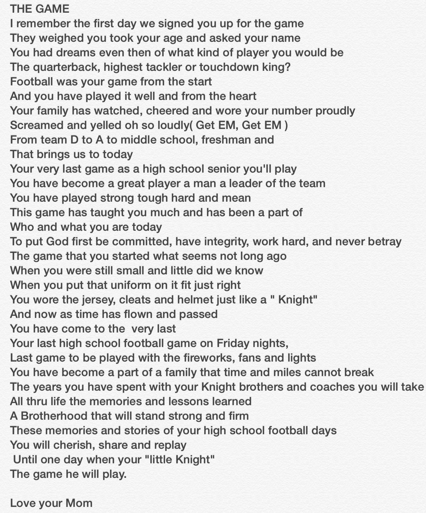 Football Poem For My Son Senior Year Senior Night Football Football Poems Football Quotes
