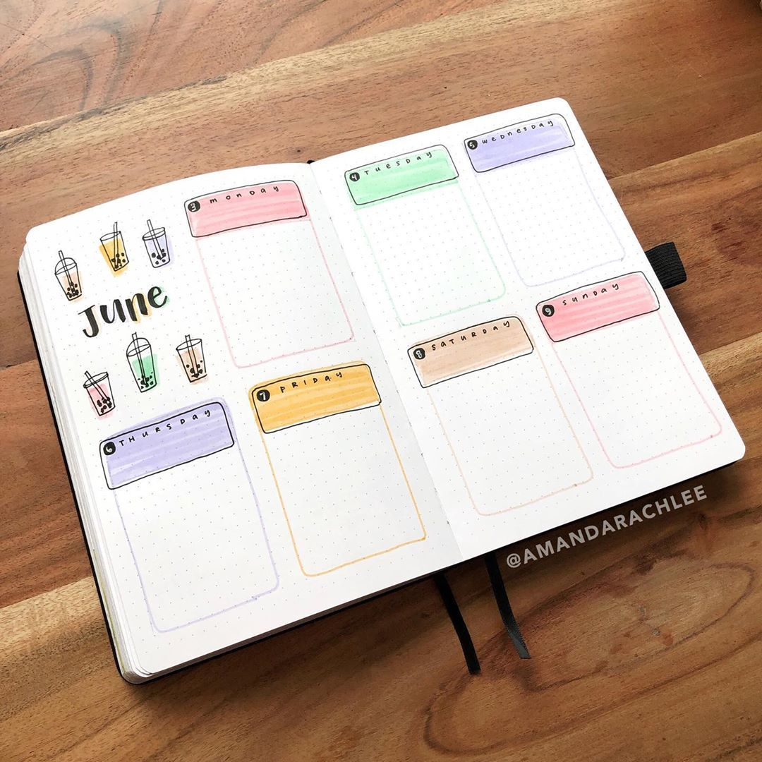 "AmandaRachLee on Instagram: ""first week of june! ✨ since there's no spread to do this week (this was from my june bullet journal setup video!) , there won't be a…"""