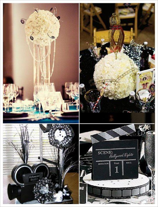 decoration centre de table mariage camera clap boule de. Black Bedroom Furniture Sets. Home Design Ideas