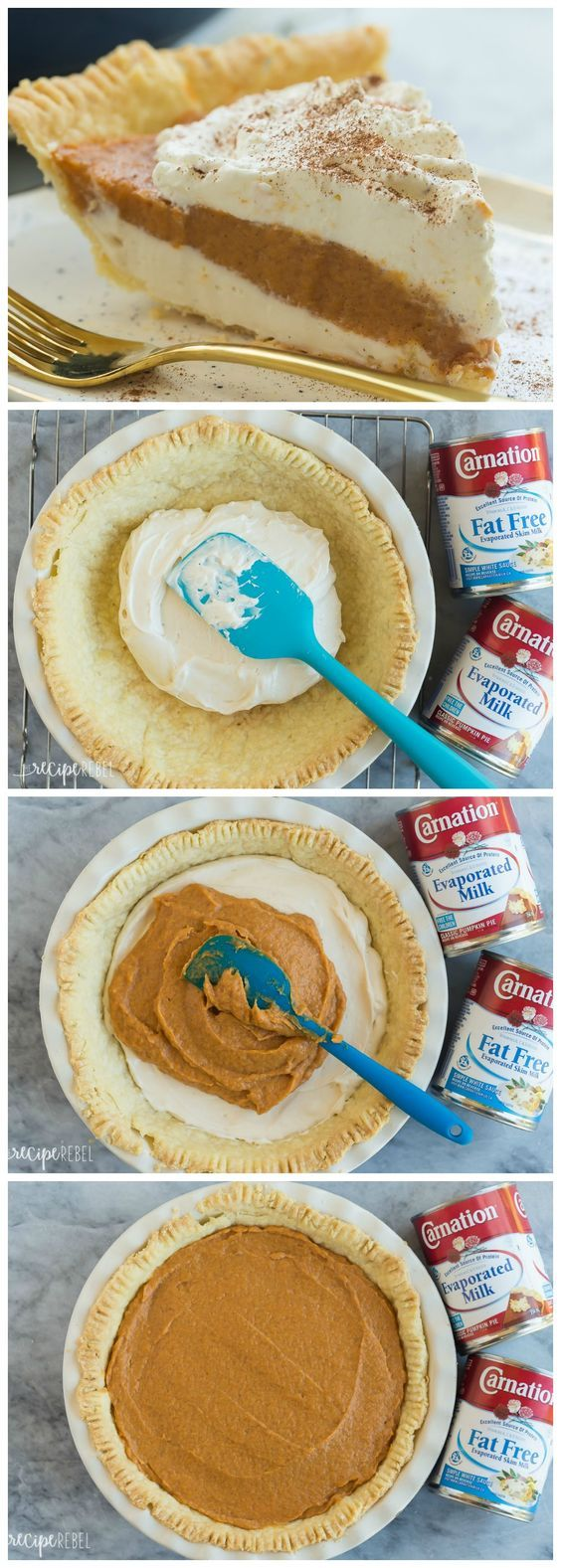 The ULTIMATE Pumpkin Pie made with Carnation Evaporated Milk! This no-bake is complete with a homemade pie crust, creamy cheesecake layer and homemade pumpkin pudding on top!