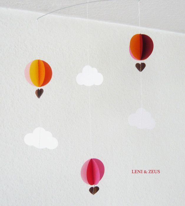 """Glückwunschkarten - ✈ Mobile """"Ballonfahrt"""" ✈ kleines Papi... - ein Designerstück von LENIundZeus bei DaWanda"""