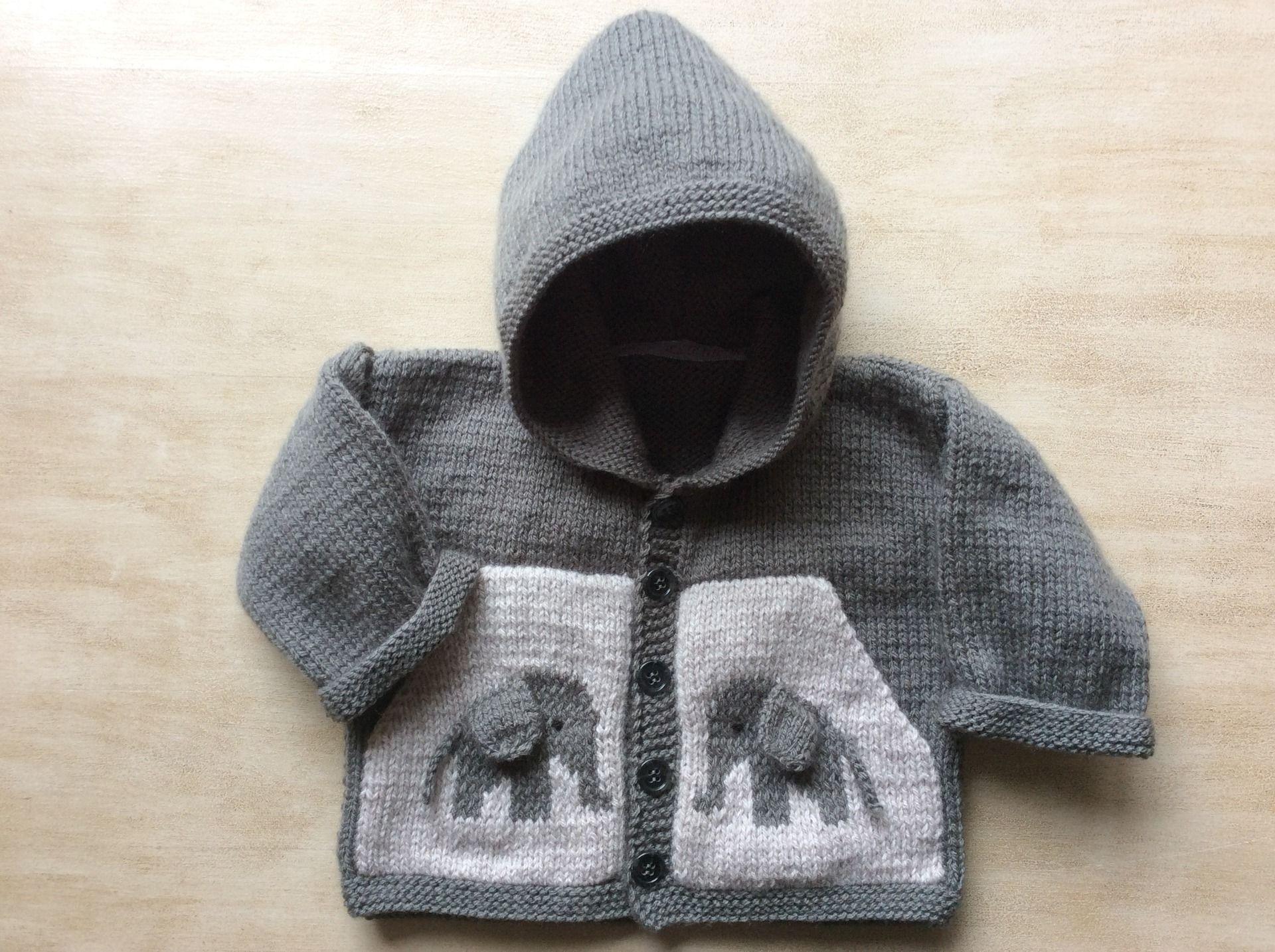gilet capuche 1 6 mois gris souris poches motif jacquard l phant mode b b par la p tite. Black Bedroom Furniture Sets. Home Design Ideas