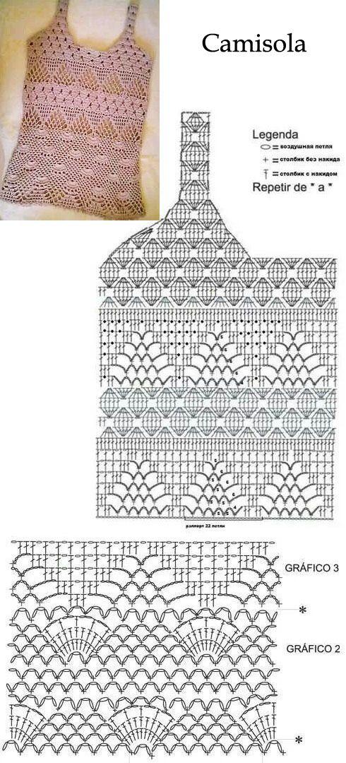 Camisola con sus diagramas | crochet | Pinterest
