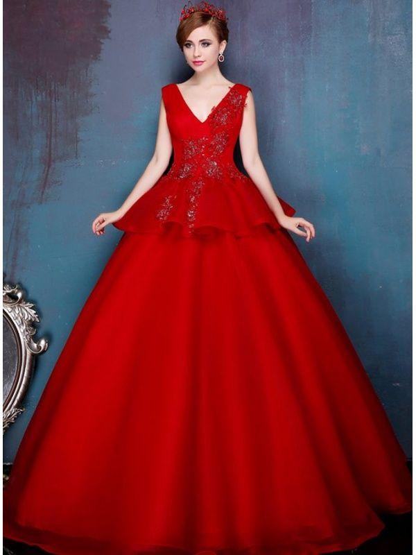 aa16f175b82c Vestito da Sposa Rosso Principesco elegante economico online nel ...