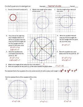 Equations Of Circles Investigation Equations Investigations