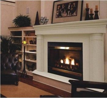 The Pilar Thin Cast Stone Mantel Complete With Facing And Hearth Featuring Heavy Round Columns Note T Stone Mantel Cast Stone Mantel Stone Fireplace Mantel