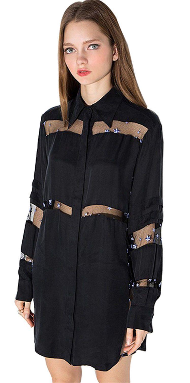 4b9b7d5bf86 Long Sleeve Star Embroidered Sheer Mesh Spliced Mini Shirt Shift Dress Black
