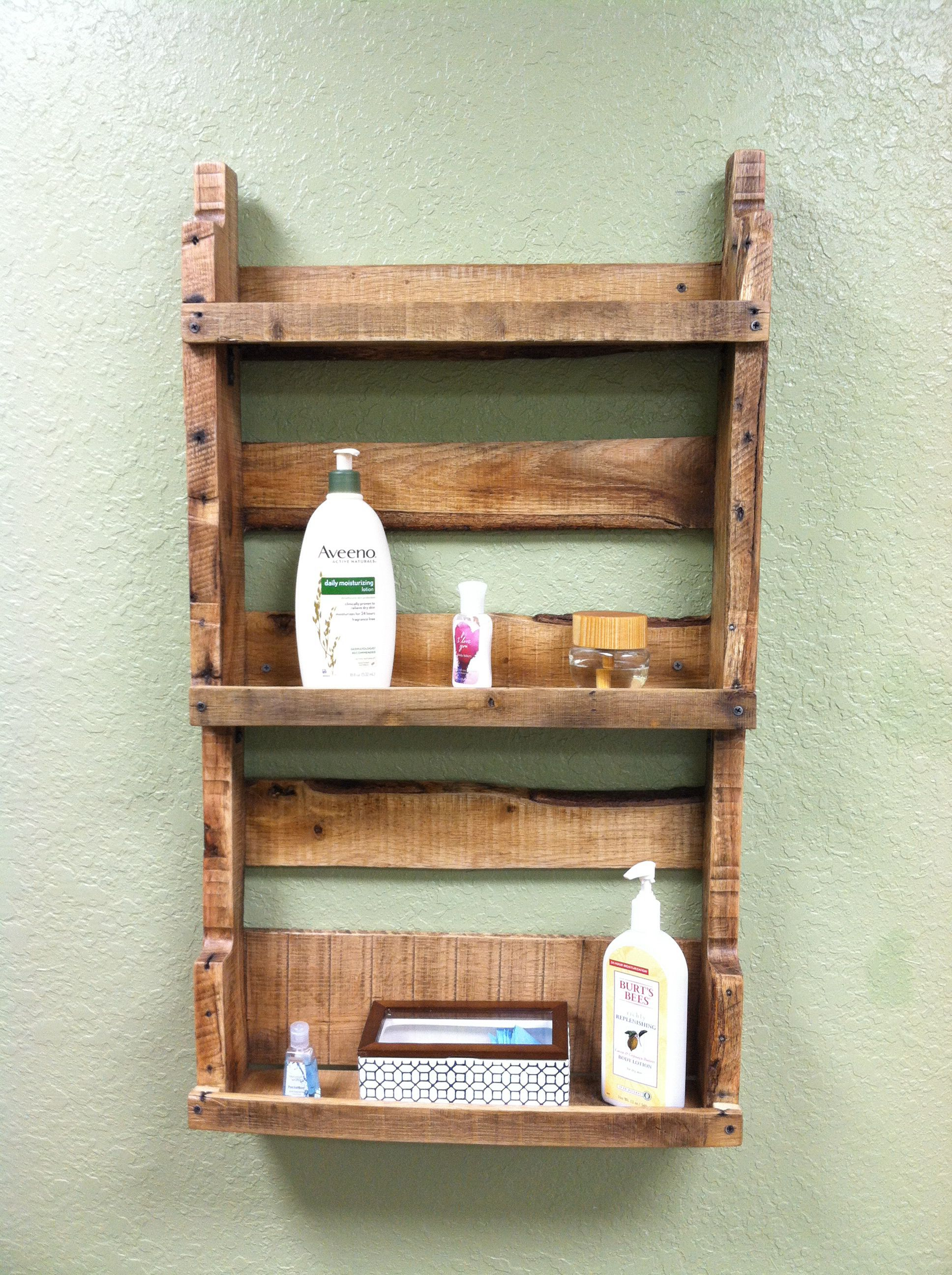 Blevins Custom Woodworking-Bathroom wall shelf made from pallet ...