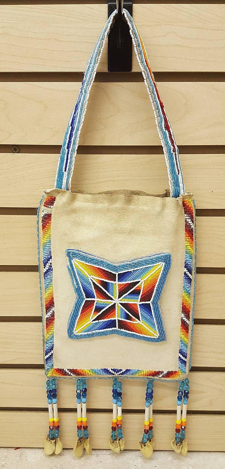 fee52725f1 NICE LARGE HAND CRAFTED CUT BEADED NATIVE AMERICAN INDIAN BUCKSKIN  PURSE/BAG – eBay Find of the week.