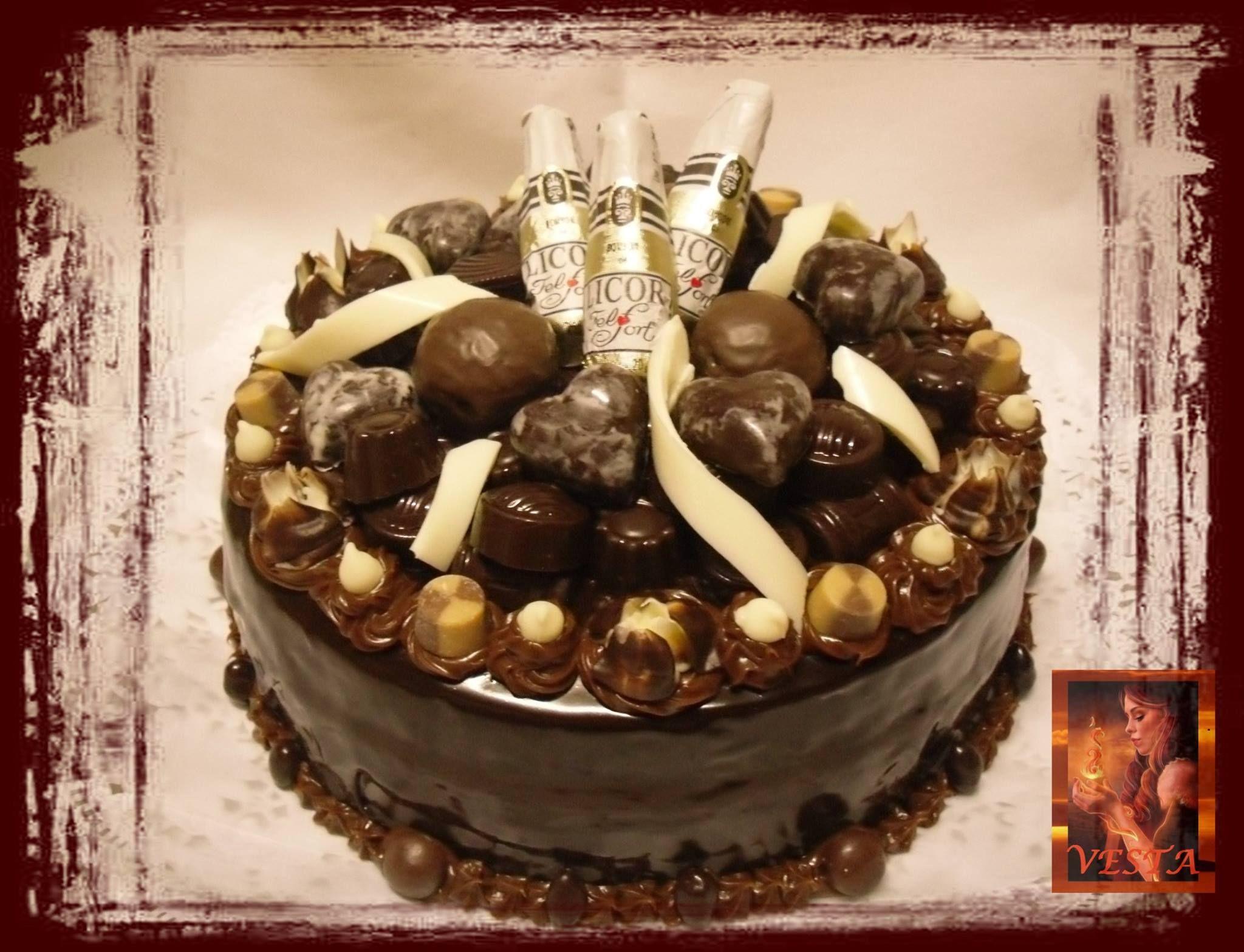 cake with chocolat torta de chocolate con bombones rellenos y ...