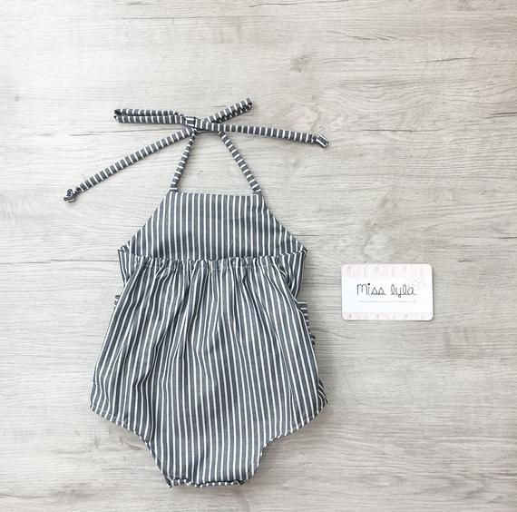 Photo of Baby Girl Romper, baby girl clothes, Baby Romper, Photography prop, Baby Bodysuit, Striped casual romper, Birthday outfit, babyshower gift