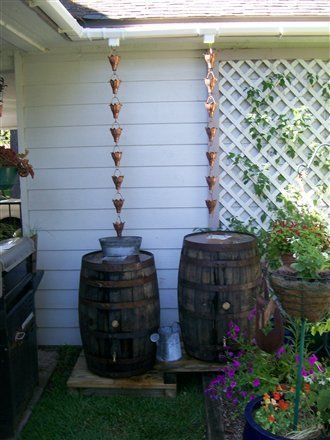 Barrels With Rain Chains Will Reduce Splash Rain Barrel Rain Chain Rain Water Collection