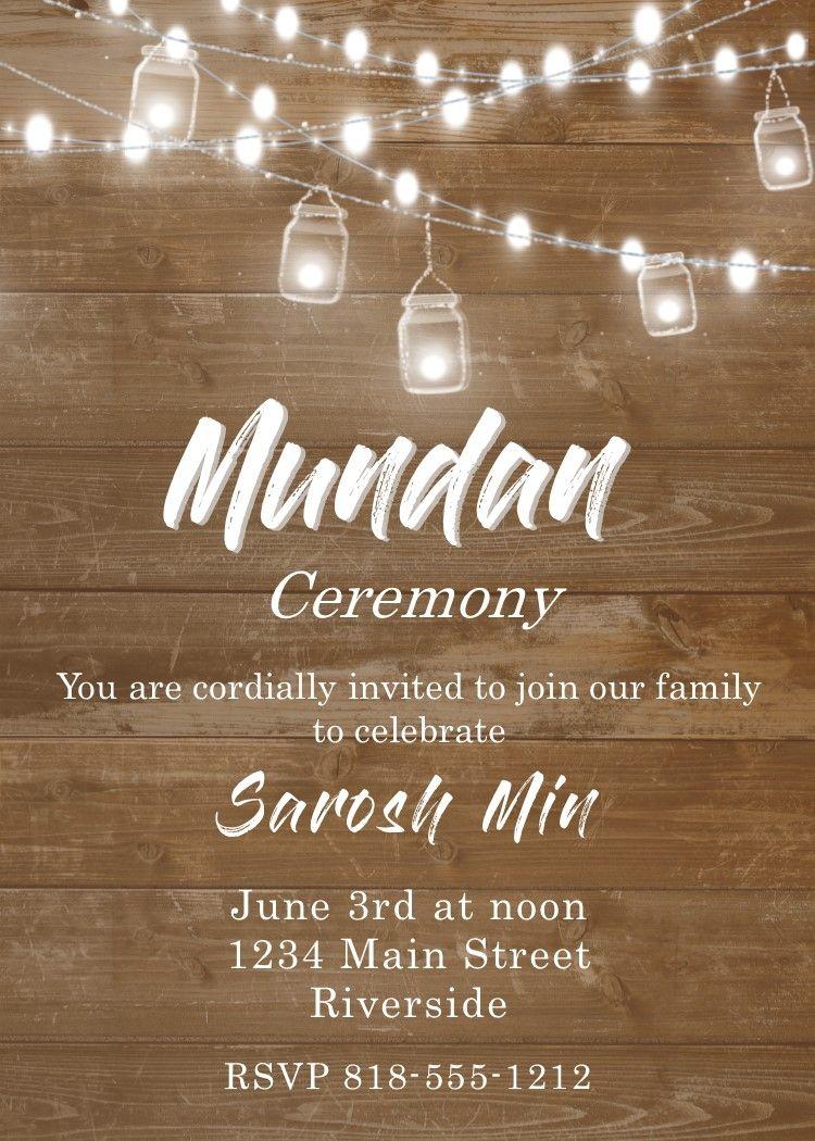 Mundan Lights And Wood Invitations Free Invitation Cards Invitation Card Maker Invitation Cards