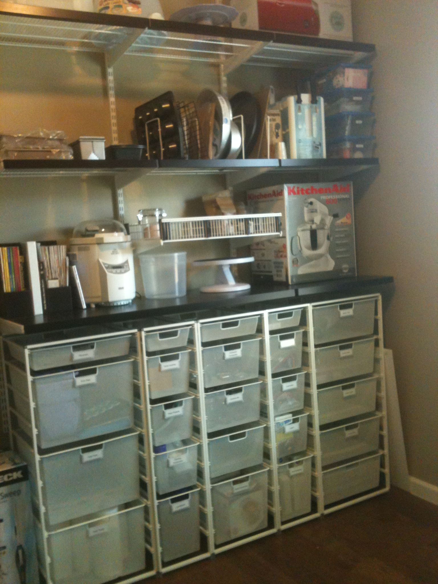 Using Container Store elfa system to organize baking supplies