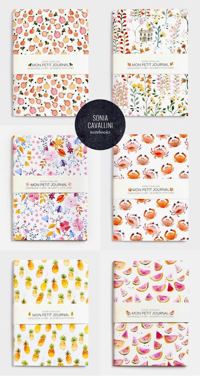 221f4ac31e1 Watercolor Pattern Notebooks by Sonia Cavallini (A6 Size) | Märkmik ...