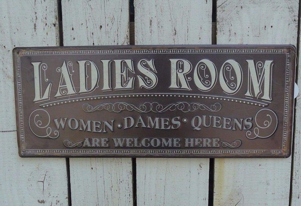 LADIES ROOM embossed distressed metal signplaque farmhouse