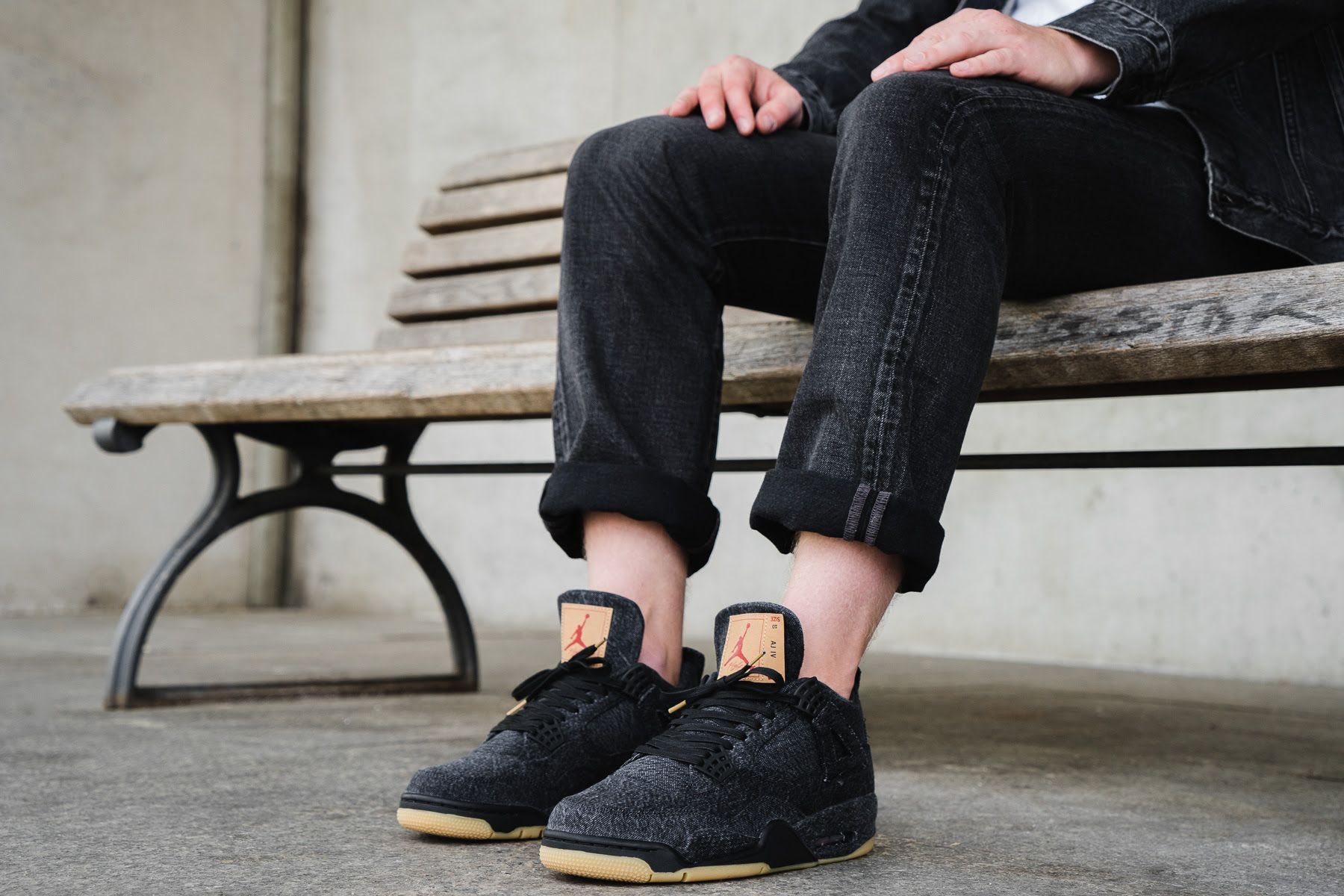 e12dde92f95add On-Foot  Levi s x Air Jordan IV in Black Denim and White Denim - EU Kicks   Sneaker Magazine