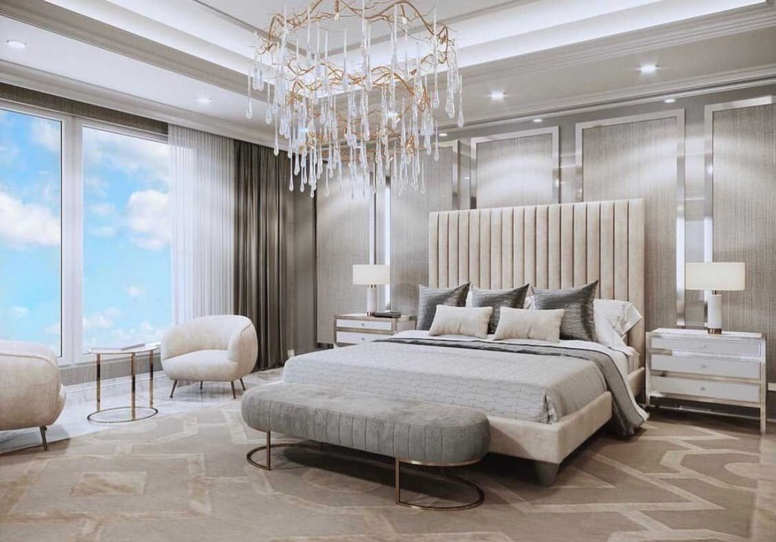 Gorgeous Luxury Dream Beige Bedroom Decor With Chic Channel Tufted Bed Luxury Bedroom Master Luxurious Bedrooms Beige Bedroom Decor