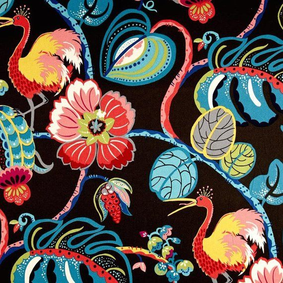 Modern Black Bold Tropical Decorative Designer Pillow Cover accent Josef Frank style floral red pink blue yellow green cream bright multi
