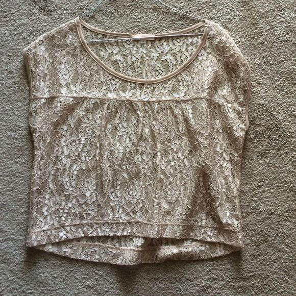 Lace crop Cream colored lace see through crop with floral design. Worn once. Mauve Tops