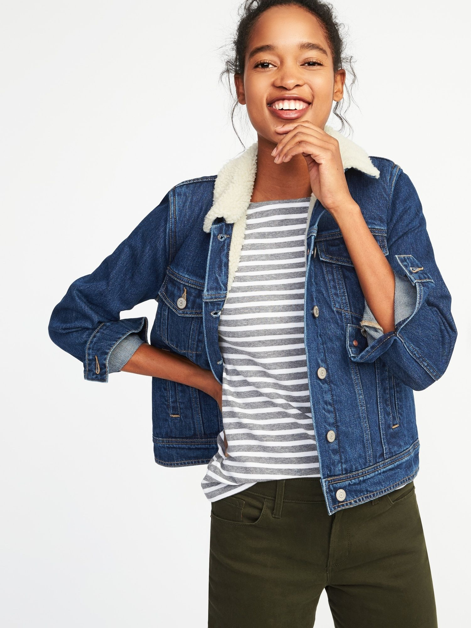 0375a41ca12 Sherpa-Lined Denim Jacket for Women