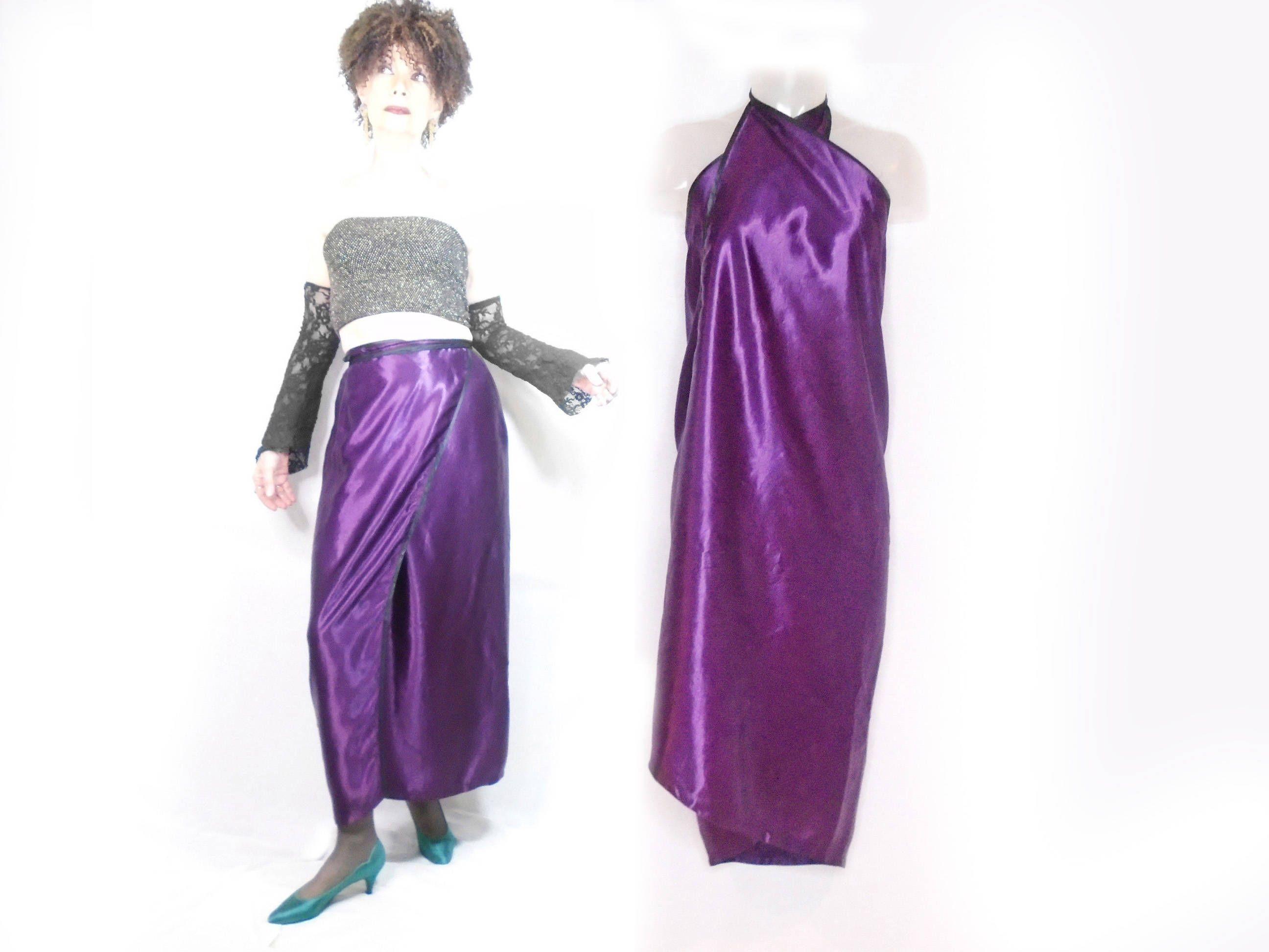 Formal Maxi Wrap Skirt Strapless Wrap Dress Purple Satin Cocktail